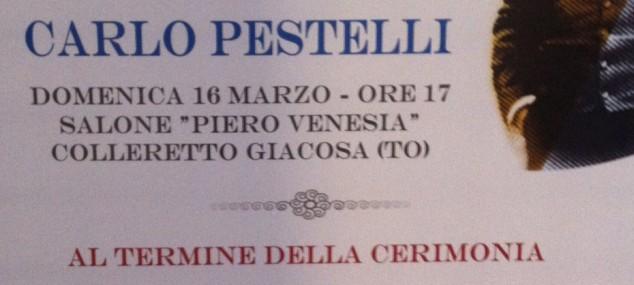 Carlo Pestelli vince il Premio Giacosa con il cd prodotto da Alex – concerto e premiazione Domenica 16 marzo